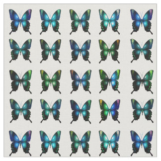 Royal Blue Turquoise Elegant Whimsical Butterflies Fabric