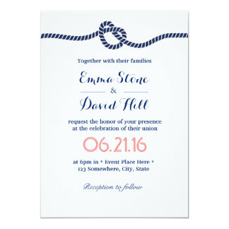 Royal Blue Tying the Knot Nautical Wedding 13 Cm X 18 Cm Invitation Card