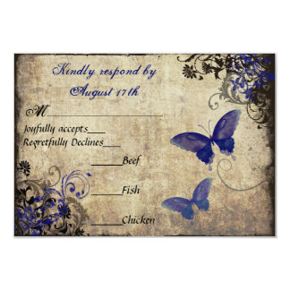 Royal Blue Vintage Butterfly RSVP Card
