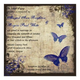 Royal Blue Vintage Butterfly Wedding Card
