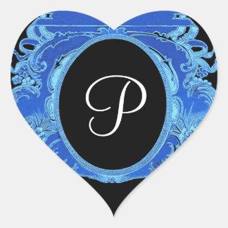 Royal Blue Vintage Frame Any Initial Monogram V13 Heart Stickers