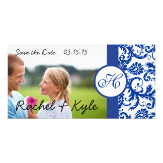 Royal Blue Vintage Modern Damask Save the Date Customized Photo Card