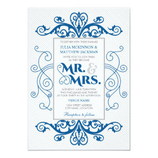 Royal Blue Vintage Swirls Mr. and Mrs. Wedding 13 Cm X 18 Cm Invitation Card