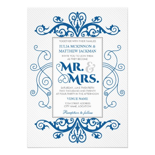 Royal Blue Vintage Swirls Mr. and Mrs. Wedding Personalized Announcements