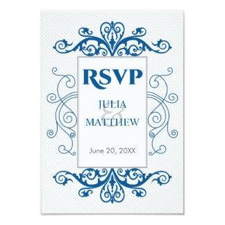 Royal Blue Vintage Swirls RSVP Card 9 Cm X 13 Cm Invitation Card