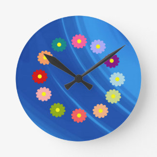 Royal Blue Waves Round Clock