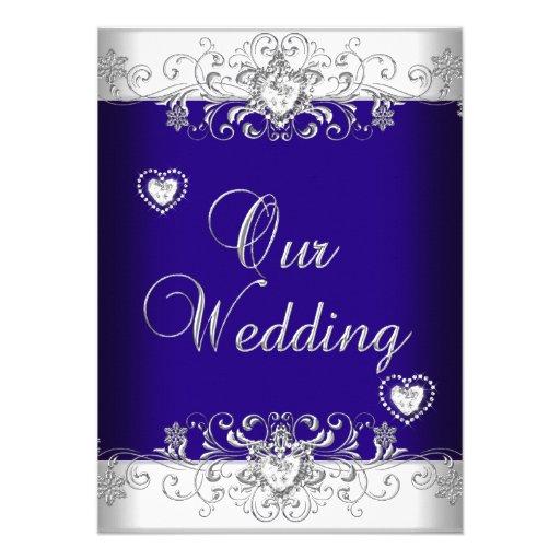 Royal Blue Wedding Silver Diamond Hearts 2 Invitations
