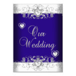 Royal Blue Wedding Silver Diamond Hearts 2a 11 Cm X 16 Cm Invitation Card