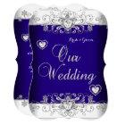 Royal Blue Wedding Silver Diamond Hearts b Card