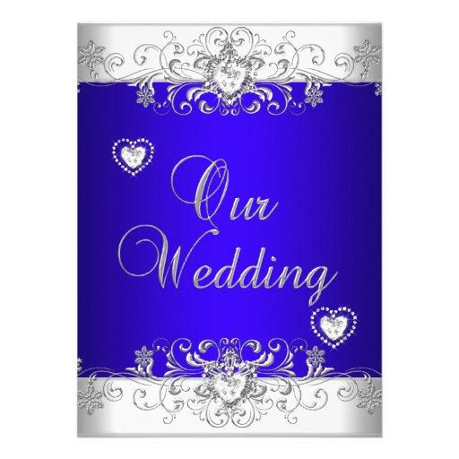 Royal blue Wedding Silver Diamond Hearts Custom Announcement
