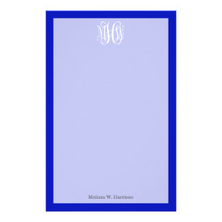 Royal Blue White 3 Initials Vine Script Monogram Stationery