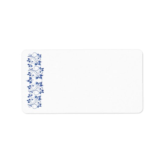 Royal Blue White Address Label - Blank