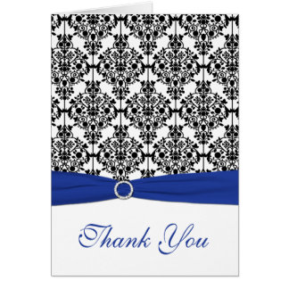 Royal Blue, White, and Black Damask Thank You Card