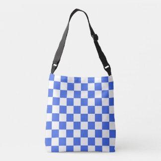 Royal Blue White Checkerboard Pattern Crossbody Bag