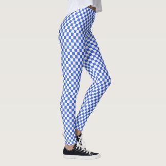 Royal Blue White Checkerboard Pattern Leggings