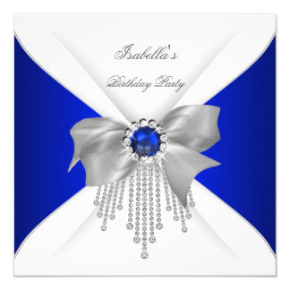 "Royal Blue White Diamond Pearl Birthday Party 5.25"" Square Invitation Card"
