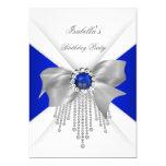 Royal Blue White Diamond Pearl Birthday Party 13 Cm X 18 Cm Invitation Card