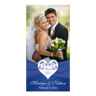Royal Blue, White Floral Heart Wedding Photo Card