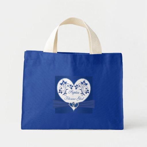 Royal Blue, White Floral Hearts Flower Girl Bag