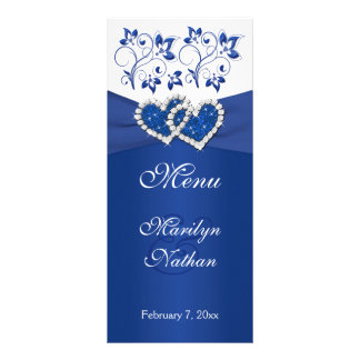 Royal Blue White Floral Joined Hearts Menu Card Rack Card