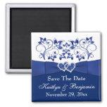 Royal Blue, White Floral Wedding Favour Magnet 2