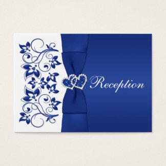 Royal Blue, White Floral Wedding Reception Card