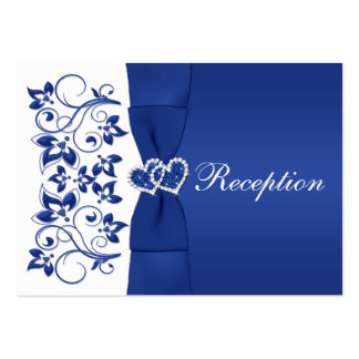 Royal Blue, White Floral Wedding Reception Card Pack Of Chubby Business Cards