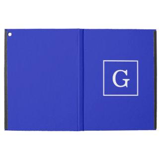 Royal Blue White Framed Initial Monogram