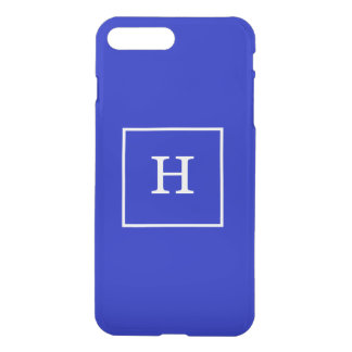 Royal Blue White Framed Initial Monogram iPhone 7 Plus Case