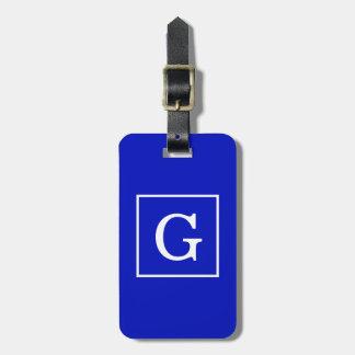 Royal Blue White Framed Initial Monogram Luggage Tag