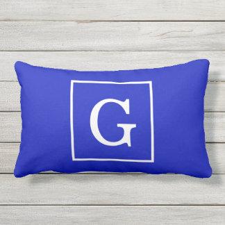 Royal Blue White Framed Initial Monogram Outdoor Cushion