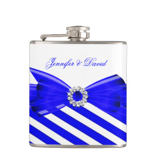 Royal Blue White Stripe Wedding Engagement Hip Flask