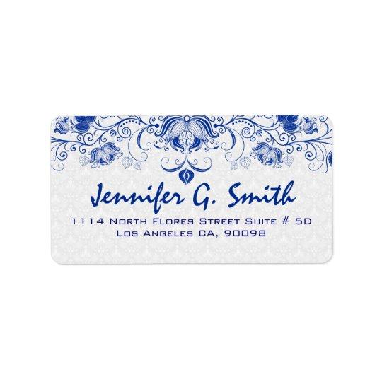 Royal Blue & White Vintage Floral Lace & Damasks Address Label
