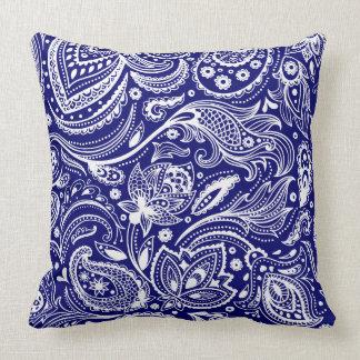 Royal Blue & White Vintage Floral Paisley Cushions