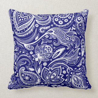 Royal Blue & White Vintage Floral Paisley Throw Pillow
