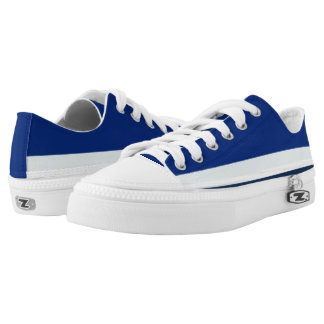 Royal Blue with Silver White and Navy Lo-Top Printed Shoes