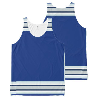 Royal Blue with Silver White and Navy Trim All-Over Print Singlet