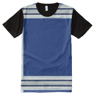 Royal Blue with Silver White and Navy Trim All-Over Print T-Shirt