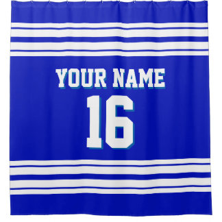 Royal Blue with White Stripes Sports Jersey Shower Curtain