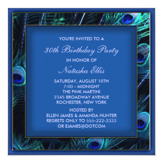Royal Blue Womans Peacock Birthday Party Personalized Invitation