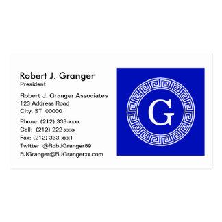 Royal Blue Wt Greek Key Rnd Frame Initial Monogram Pack Of Standard Business Cards