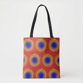 Royal Blue Yellow and Red Polka Dots Circles Tote Bag