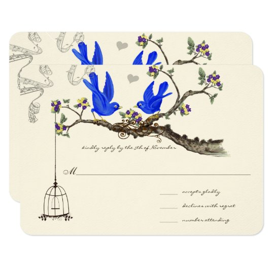 Royal Blue Yellow & Purple Flowers Weddings Card