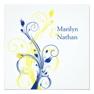 Royal Blue, Yellow, White Floral Wedding Invite