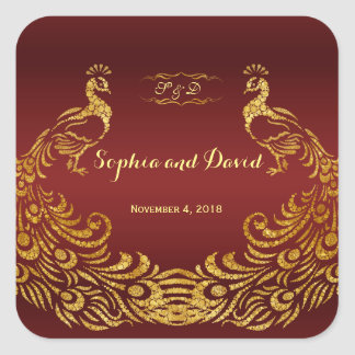 Royal Burgundy Gold Peacock Wedding Square Sticker