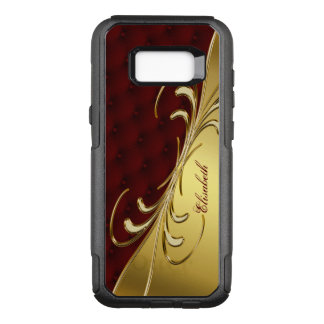 Royal Burgundy Leather Gold Swirl Ornament OtterBox Commuter Samsung Galaxy S8+ Case