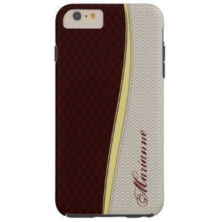 Royal Burgundy Leather iPhone 6 Plus Monogram Case