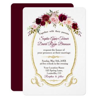 Royal Burgundy Marsala Floral Fall Wedding Card
