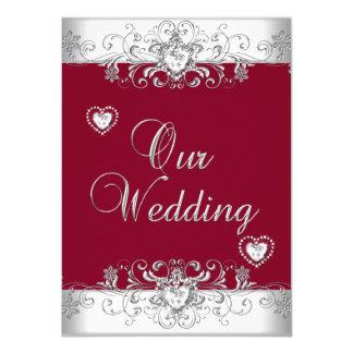 Royal Burgundy Red Wedding Silver Diamond Hearts 11 Cm X 16 Cm Invitation Card