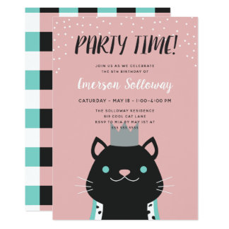 Royal Cat Pink Kids Birthday Party Card